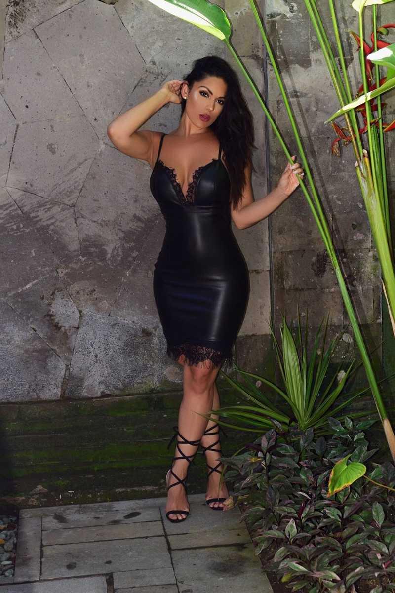 2019 nowa letnia damska sukienka na szelkach czarna koronkowa strona głęboki dekolt bez rękawów bandaż obcisły Backless Pu Leather