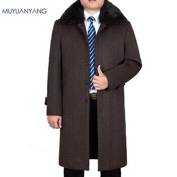 Mu Yuan Yang Mens Wool Coats and Jackets Winter X-Long Men' s Woolen Jacket Casual Cashmere Clothing Plus Size XXXL XXXXL