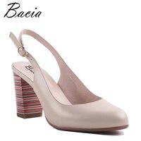 Bacia Sheepskin Square Colorful Heels Pink Sweet Casual Shoes Round Toe Handmade Women Quality Footwear Ladies