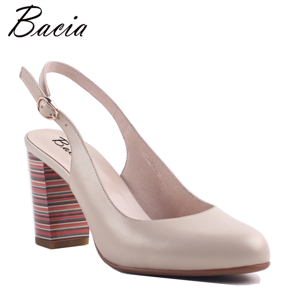 Bacia Sheepskin Square Colorful Heels Pink Sweet Casual Shoes Round toe Handmade Women Quality Footwear Ladies High Pumps MB030 bacia casual shoes luxury british style leather square heels for women spring autumn high quality pumps round toe shoes vc011