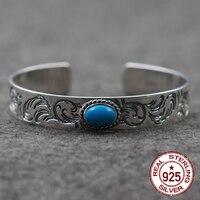 925 abrir pulsera personalizada moda retro estilo indio de gama alta tallada Rosa pulsera para enviar un regalo de amante