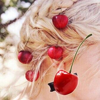 משלוח חינם (4 יחידות) נשים של יפה דובדבן סיכות אופנה של הילדה חמוד שיער קליפים שיער אביזרי 2016