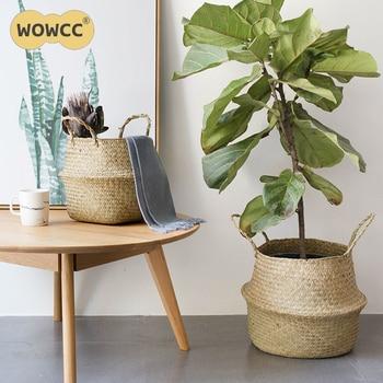 Wowcc соломы Корзины для хранения водорослей плетеные корзины висит цветочный горшок корзин для хранения Цветок Home корзина для хранения горш...