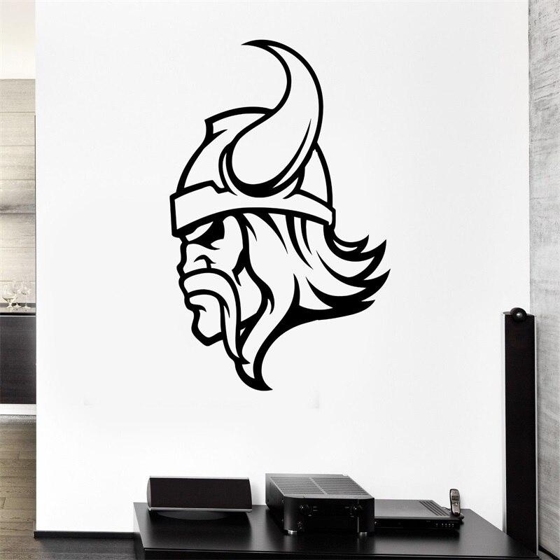 ٩(^‿^)۶Tatuajes de pared guerrero vikingo casco cuernos antiguas ...