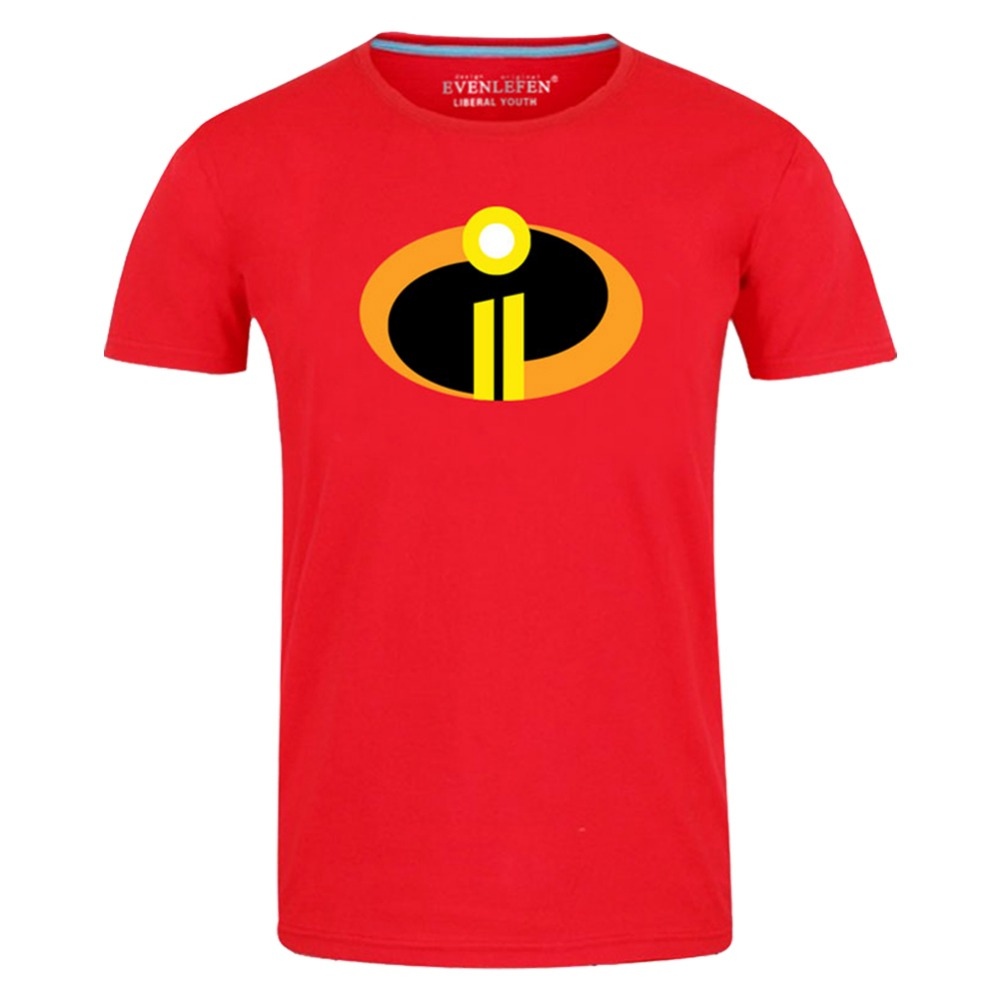 The Incredibles 2 T-shirt Men Red and Black 2 Color High Quality Cosplay For Superman Summer Top Tee Short Sleeve X-4XL