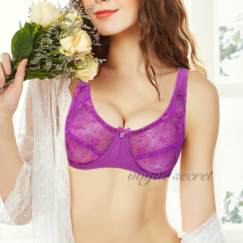 Buy VOGUE SECRET Lace Bralette Bra Women Unlined Floral Plus Size Transparent Sexy Lingerie 80 85 90 95 100 B C D DD E F Cup