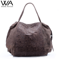 Walk Arrive Genuine Leather Women Handbag Shoulder Bag Brand Design Oracle Embossed Leather Tote Bag Fashion