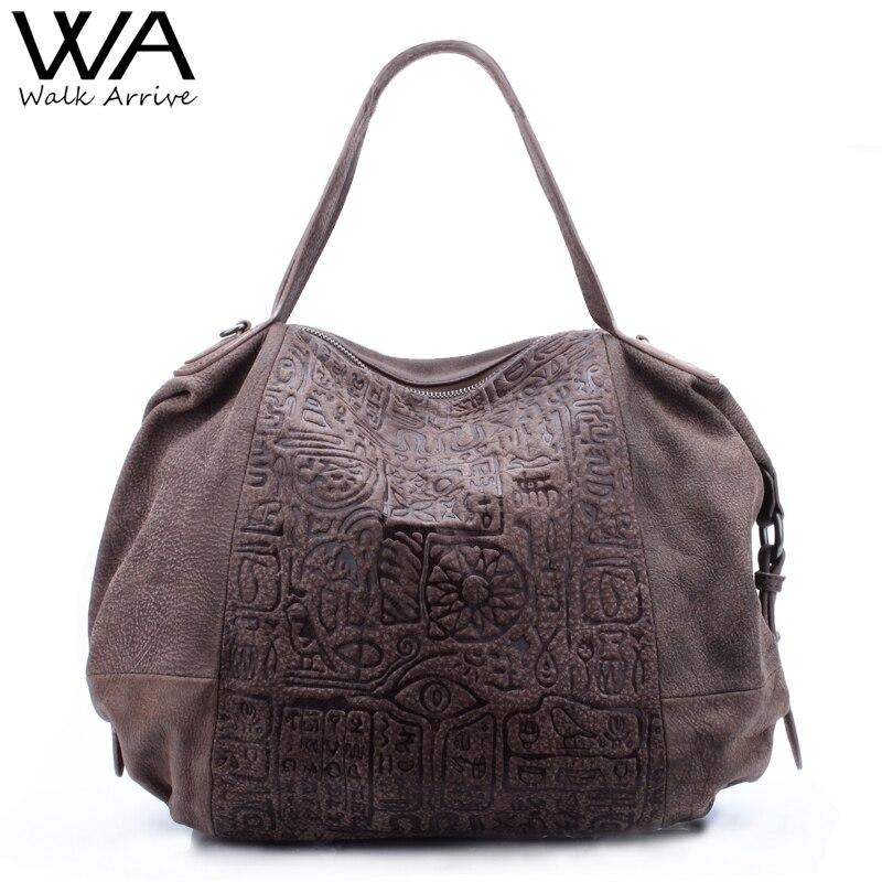 Walk Arrive Genuine Leather Women Handbag Shoulder Bag Brand Design Oracle Embossed Leather Tote Bag Fashion Purse