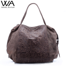 Spaziergang Kommen Echtem Leder Frauen Handtasche Schultertasche Marke Design Orakel Geprägte Leder Tote Handtasche