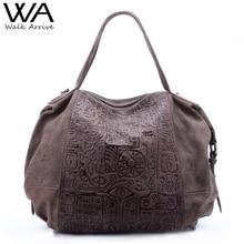 Walk arrive oráculo em relevo genuína mulheres de couro bolsa bolsa de ombro de design da marca de couro tote bag moda bolsa