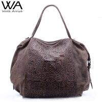 Walk Arrive Genuine Leather Women Handbag Shoulder Bag Brand Design Oracle Embossed Leather Tote Bag Fashion