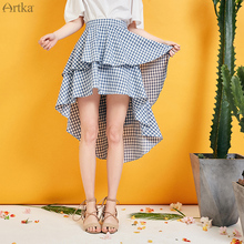 Plaid Layer Skirt Swallowtail