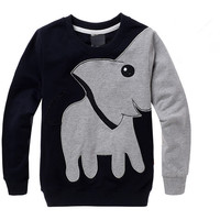 2016 Autumn New Cartoon Elephant Printed Long Sleeve Children Sweater Boy Girl Pullover Top Shirts Sweatshirt