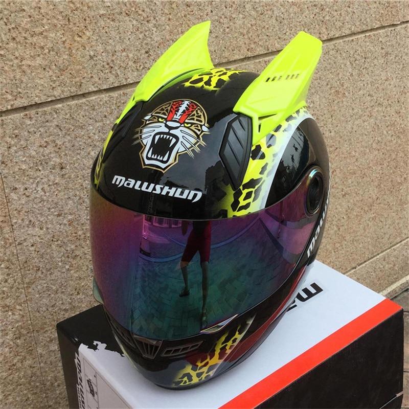 MALUSHEN Horse Motorcycle Helmet ABS Moto Helmet Moto Horn Helmet Personality Full Face  ...