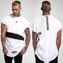 Для мужчин футболка с короткими рукавами модные хип-хоп кепки, спортивные залы из джерсовой ткани детский комбинезон из хлопка боди Для мужчин для фитнеса, с круглым вырезом футболки