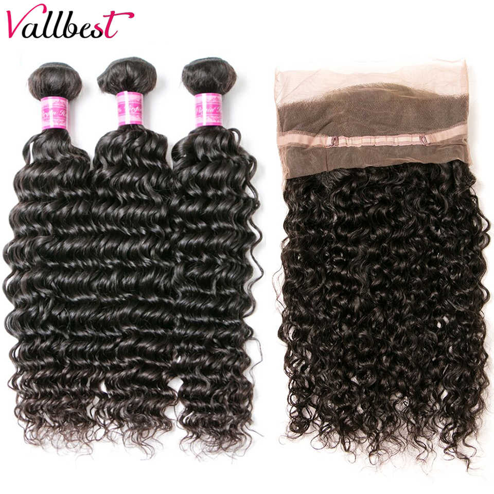 Vallbest 360 Lace Frontal Closure with Bundles Peruvian Deep Wave Human Hair 3 Bundle with 360 Lace Frontal Remy Hair Weaves