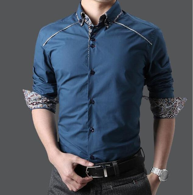 2015 High Quality Men Button Up Shirts Casual Shirt Long Sleeve ...