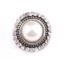 18mm White Pearl Snap Button Suitable The Button Jewelry Fit Snap Earrings Bracelet Jewelry Wholesale Mother Women Gift(China)