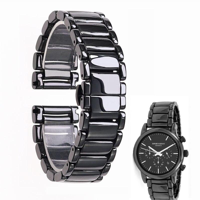 22 ミリメートル黒ハイグレード高輝度セラミックストラップブレスレット時計バンドアルマーニ時計 AR1507 AR1509 AR1499 セラミック腕時計  グループ上の 腕時計 からの 時計バンド の中 1