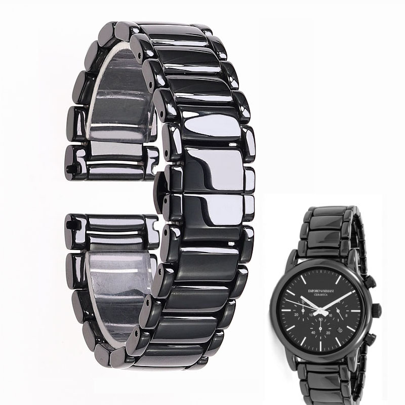 22mm black high grade bright ceramic strap bracelet watchbands for Armani watch AR1507 AR1509 AR1499 ceramic watch-in Watchbands from Watches