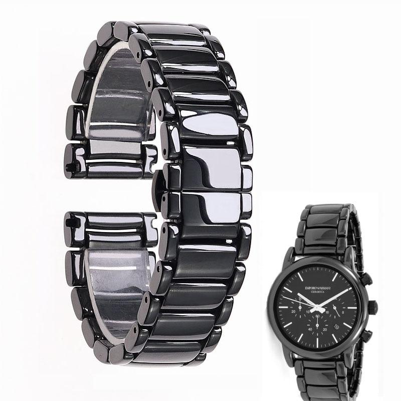22mm czarny wysokiej jakości jasne ceramiczne pasek bransoletka od zegarków dla Armani zegarek AR1507 AR1509 AR1499 zegarek ceramiczny w Paski do zegarków od Zegarki na  Grupa 1