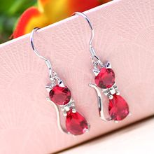Retro Jewelry Exquisite 925 Silver Cat CZ Earrings Modern Beauty Earrings for Women Charm Earrings(China)
