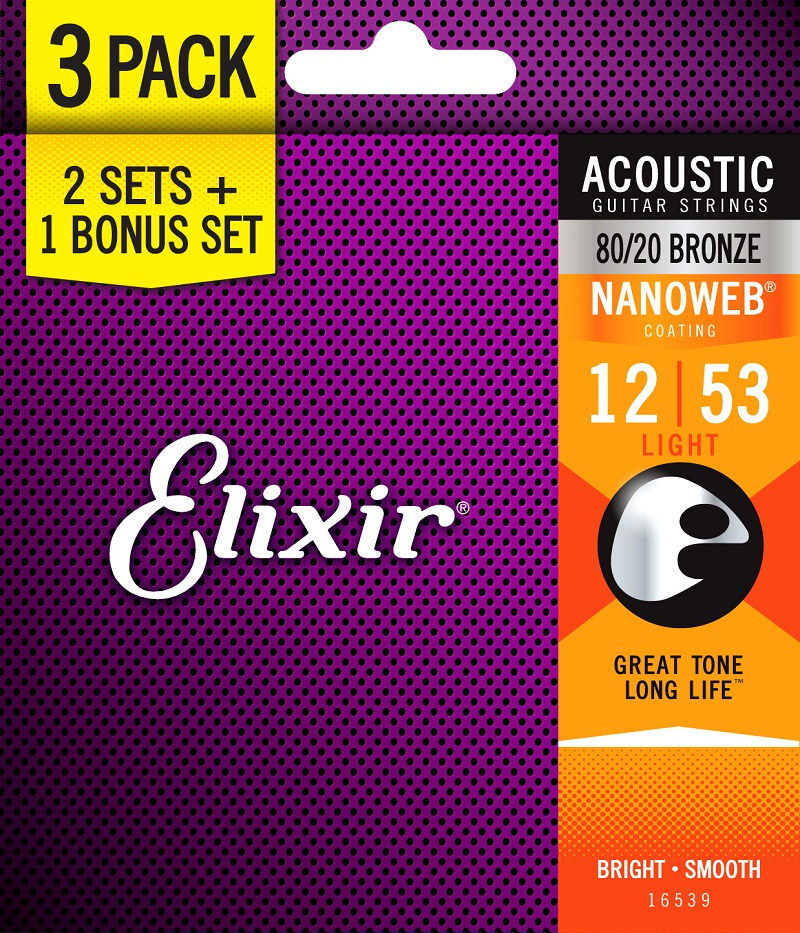Elixir Strings Acoustic Guitar Strings, 3 Sets for the Price of 2 цена