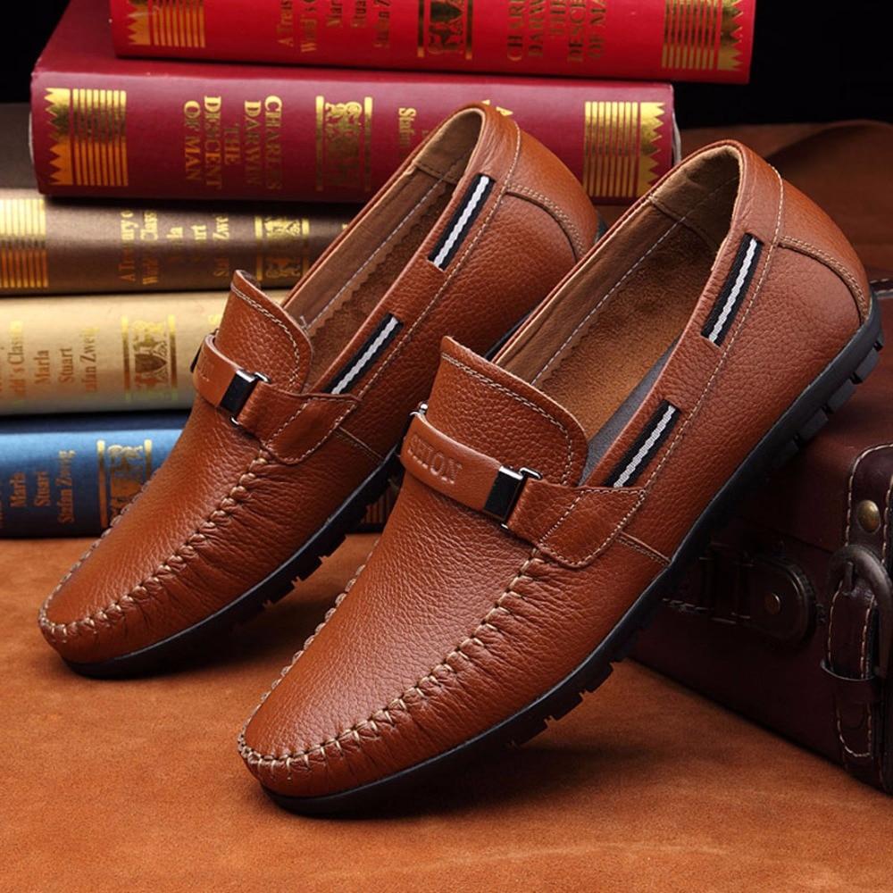 c4c47465a1843 Büyük Boy Inek Deri erkek mokasen ayakkabıları Sürüş Tekne Ayakkabı Moda  Erkek Moccasins Chaussure Homme Yumuşak Sole Erkek Deri rahat ayakkabılar