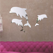 e2664efe8a787 (Ship from US) 2018 New Arrival Fashion Cute Acrylic 3D Cute Dolphin  Combination Mirror Effect Wall Sticker Decal Home Decor hIgh Quality 35