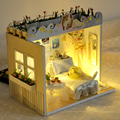 Miniatura de Móveis Casa de Bonecas artesanais Diy Casas de Boneca Em Miniatura Casa De Bonecas De Madeira de Presente de Aniversário de Brinquedos Para As Crianças Os Adultos TD3