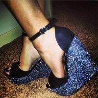 PADEGAO + frauen sandalen 2017 high heels party schuhe schwarz dame sandalen high heels 14,5 cm ferse, 4,5 cm wasserdichte rand sandalen
