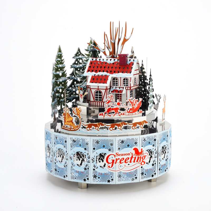 Hiver Snowscape thème bricolage boîte à musique en métal horloge artisanat fait à la main décor à la maison avec télécommande lumière jouet Musical cadeau