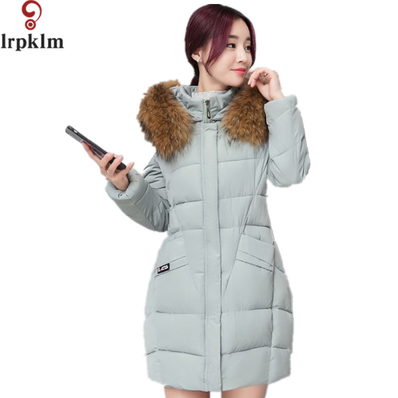 Winter jacket Women 2017 Mid-Long Thicken Warm Cotton-Padded Parkas Coat Faux Fur Collar Hooded Jacket For Girl M-4XL LZ280 boys winter jacket cotton padded fur collar hooded long kids outerwear coat thicken warm boy winter coat children clothing