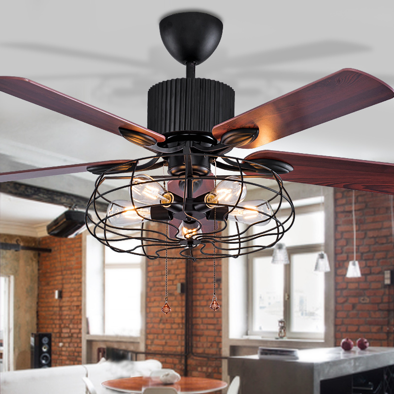 48 52 loft industriel ventilateur de plafond 5 t tes lumi res restaurant ultra silencieux salon. Black Bedroom Furniture Sets. Home Design Ideas