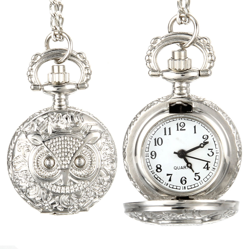 Fashion Men Women Vintage Quartz Pocket Watch Unisex Sweater Chain Watches Necklace Owl Pendant Clock Gifts LL@17