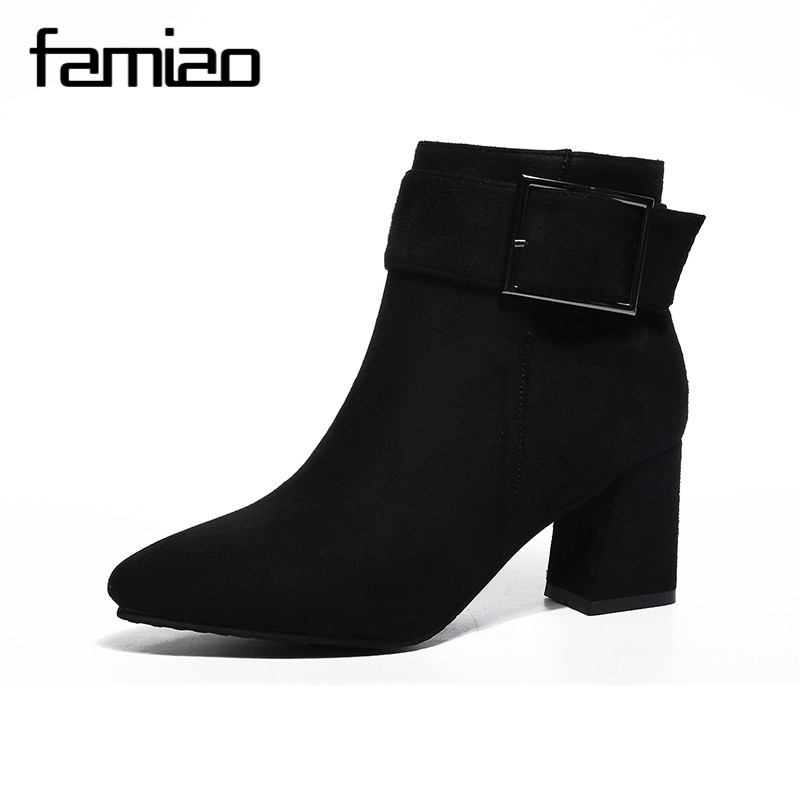 FAMIAO 2017 Spring Autumn Fashion Women Real PU Leather Boots High Heel Ankle bottes femmes Party Shoes Lady Short Botas Mujer bottes femmes 2017 autumn fashion martin boots leather shoes woman platform square medium heel ankle boots for women plus size