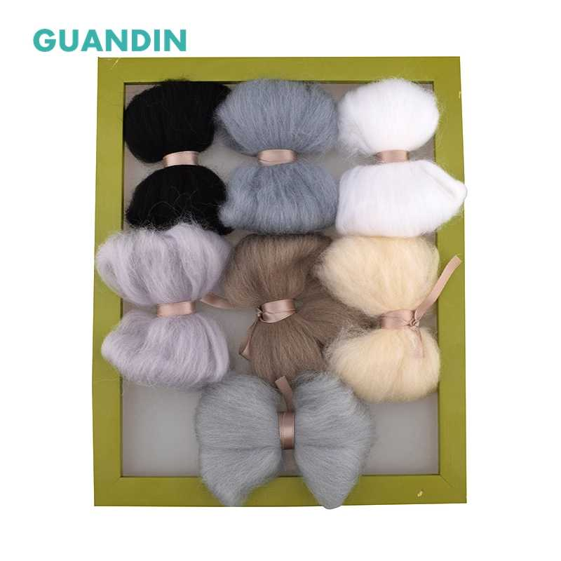 GuanDin,Non-Finished Wool Felt of DIY/Needlework/Felting/Handmade 1Color/Set,Solid Color Poked Wool Felt,Gray System Pattern