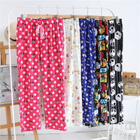 Women S Sleep Pants Antumn Cotton Flannel Cartoon Loose Trousers Men And Women Sleep Bottoms Long