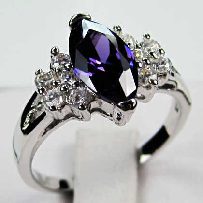 Luxury Male Female Purple Red Black Stone Ring Simple 925 Silver Finger Ring Wedding Band Promise Engagement Rings For Women