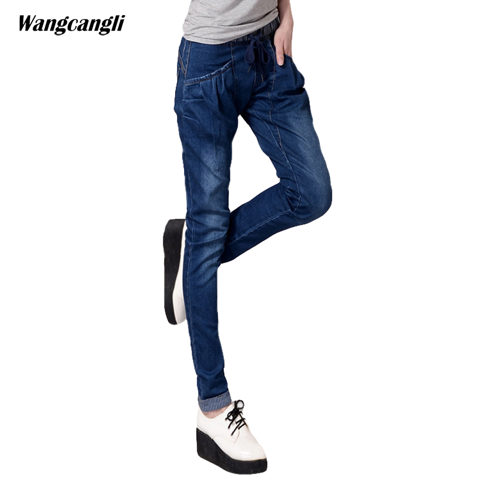 women jeans blue large size 4XL elastic waist harem pants fat sister pockets tether cotton woman tight stretch pants wangcangli wangcangli jeans women shorts light blue large size denim fat sister elastic waist mid waist jeans moustache effect summer 4xl
