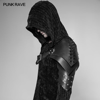 PUNK RAVE Men's Punk Cosplay Pirate Palace PU Leather Gothic Cone Nail Fitted Version Armor with Retro Hit Nails Accessories