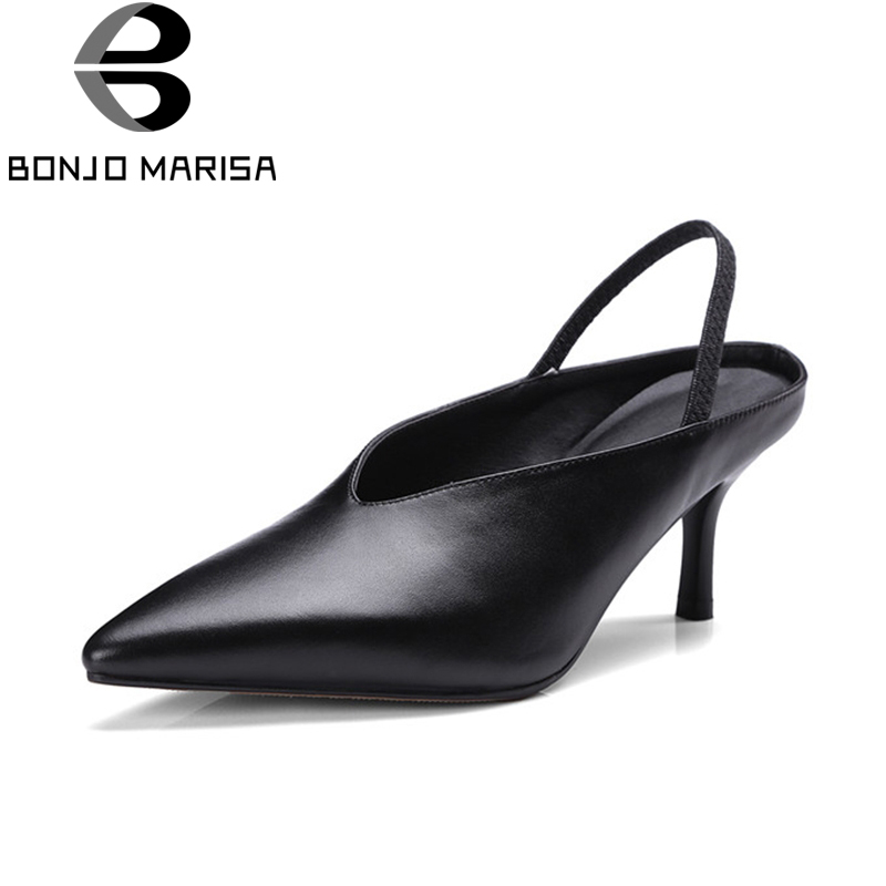 BONJOMARISA 2018 Summer Genuine Leather Black Mature Pointed Toe Mules Fashion Women Pumps Casual Shoes Woman High Heels bonjomarisa summer fashion hot sale women mules bling crystal pumps big size 32 43 mature high wedges heels shoes woman