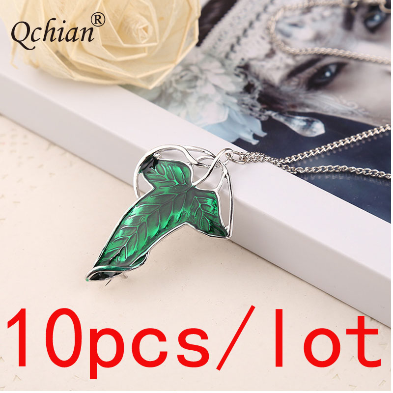 10pcs/lot Elf Prince Princess Green Leaf Pin Zinc Alloy Necklace  Cosplay Party Jewelry Beautiful Pendant Gift for Women