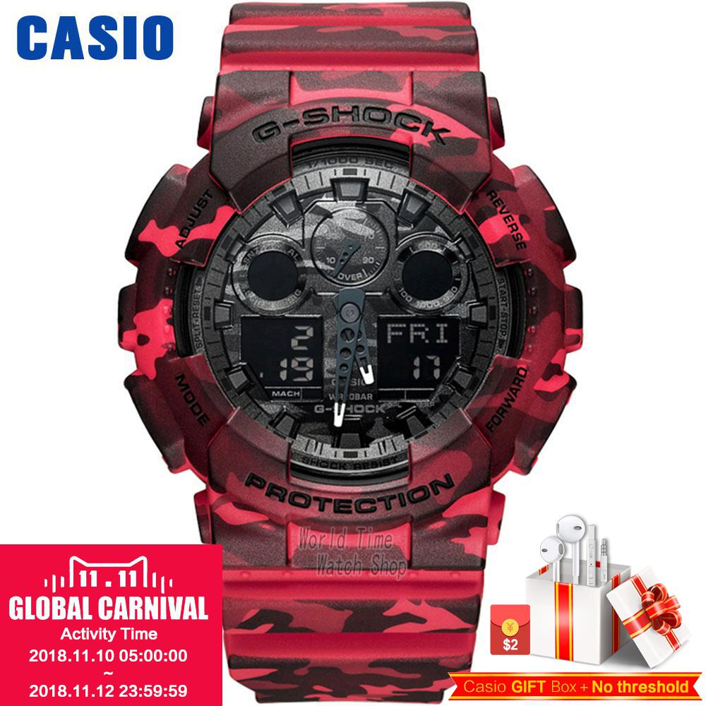 Casio watch G-SHOCK Men's quartz sports watch camouflage sports double display waterproof and shockproof g shock Watch GA-100CM casio g shock g classic ga 100b 4a