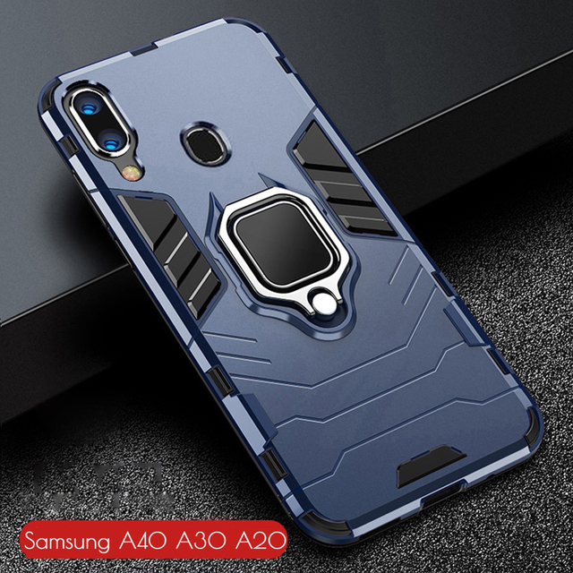 For Samsung Galaxy A40 A30 A20 Case Armor PC Cover Finger Ring Holder Phone Case For Samsung A 40 30 20 Cover Durable Bumper