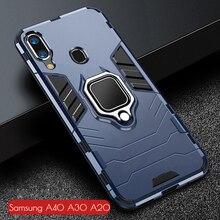 Pour Samsung Galaxy A40 A30 A20 Cas Armure PC Couverture Doigt porte anneau de Téléphone étui pour Samsung 40 30 20 Couverture Durable Pare chocs