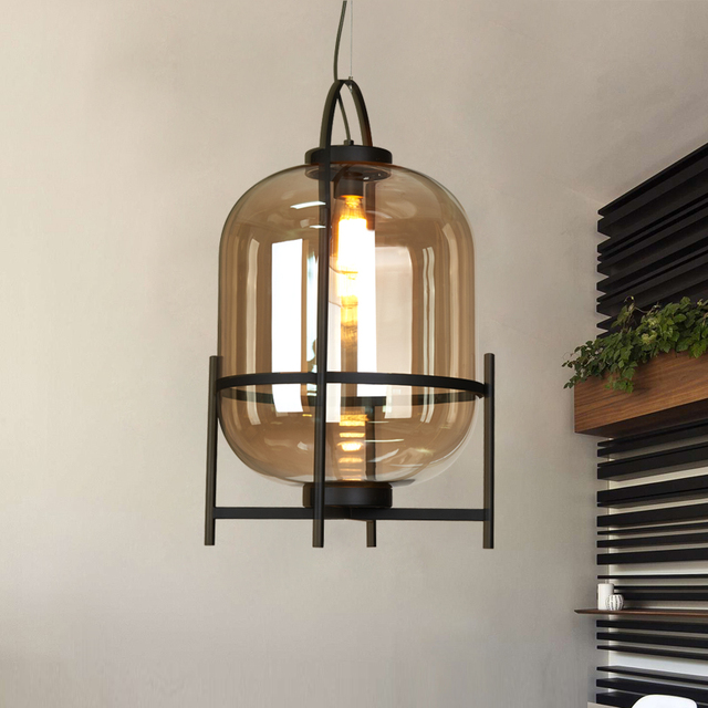nordic glass iron pendant lamps living room study hotel custom industrial glass decoration lighting pendant