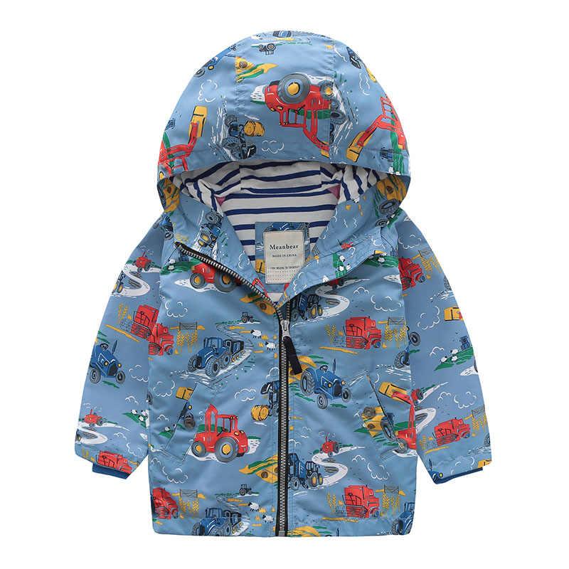 Куртки осень для детей Повседневное ветровка мультфильм печати пальто Одежда