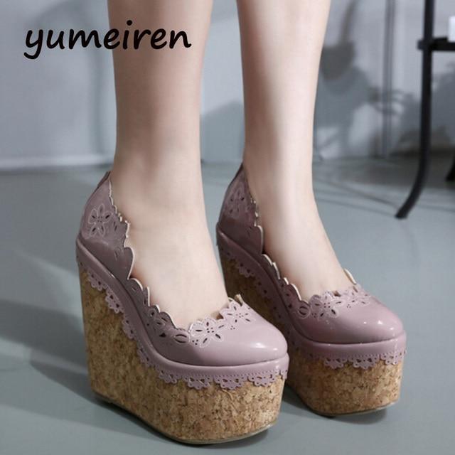 Women Shoes High Heel Wedges Shoes Platform Pumps Women Purple