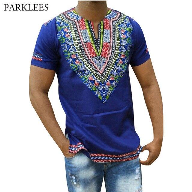 a0eeaf0ff76d Blue Dashiki T Shirt Men 2018 Brand New African 3D Print Slim Fit Mens T-shirts  Casual V Neck Short Sleeve Hip Hop Camisetas 3XL